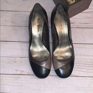 Nine West Tan Brown Black Patch Shoe Size 6.5